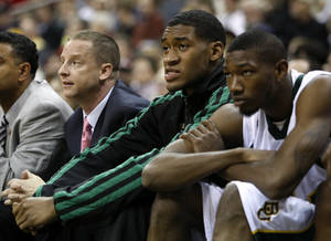 photo - OU / BIG 12 TOURNAMENT: Baylor&#039;s Perry Jones III watches during the college basketball Big 12 Championship tournament game between the University of Oklahoma and Baylor in Kansas City, Mo., Wednesday, March 9, 2011.  Photo by Bryan Terry, The Oklahoman    ORG XMIT: OKC1103091441540726 KOD