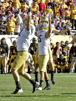 Photo -   UCLA kicker Ka'imi Fairbairn (15) watches his game-winning field goal against Arizona State during the second half of an NCAA College football game, Saturday, Oct. 27, 2012, in Tempe, Ariz. UCLA won 45-43. (AP Photo/Matt York)