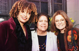 photo - Left: Angela Davis, Wilma Mankiller and Gloria Steinem in 1998