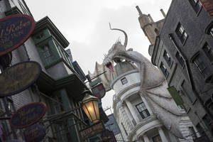 "Photo - This June 2014 photo released by Universal Orlando Resort shows ""The Wizarding World of Harry Potter – Diagon Alley,"" from the Harry Potter-themed area of Universal Orlando Resort in Orlando, Fla. The attraction, featuring shops, dining experiences and the next generation thrill ride, will officially open on July 8. (AP Photo/Universal Orlando Resort, Sheri Lowen)"