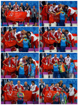 Photo - In this combination of photos taken on Friday, Feb. 21, 2014, at the Iceberg Skating Palace in Sochi, Russia, a group of Communist party officials attempts to display the Soviet Banner of Victory during a flower ceremony for a short track speedskating competition during the 2014 Winter Olympics. In the series, sequenced left to right starting at the top row, Russian Communist Party leader Gennady Zyuganov, center, and Communist lawmakers Yuri Afonin, center left, and Nikolai Kharitonov, center right, along with party spokesman Alexander Yushchenko, right, and an unidentified man at left argue with the protocol manager at the venue and grasp her arms as she tries to stop them from displaying the banner. She relents when Mikhail Kusnirovich, founder and chairman of Russian apparel giant Bosco Di Ciliegi, gets involved in the discussion. The banner is a replica of the flag raised by Soviet soldiers in Berlin in 1945, in victory over Nazi Germany. The International Olympic Committee forbids the display of political banners at Olympic venues. (AP Photo/Vadim Ghirda)