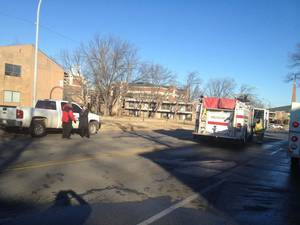 photo - Stillwater firefighters responded about 7:50 a.m. Thursday to an apartment fire at 111 N Duck St. The fire left six Oklahoma State University students displaced. PHOTO COURTESY AMERICAN RED CROSS <strong></strong>