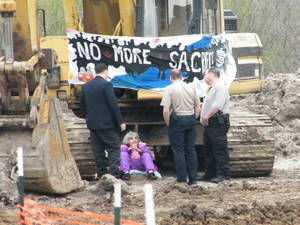 Photo - Warr Acres resident Nancy Zorn, 79, was arrested Tuesday in Hughes County, accused of locking herself to an excavator to protest the Keystone XL pipeline.  Photo provided