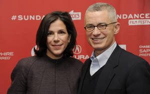 "Photo - Alexandra Pelosi, left, director of  HBO Documentary Films' ""Fall to Grace,"" poses with the film's subject, former New Jersey Gov. Jim McGreevey, before a screening of the film at the 2013 Sundance Film Festival, Friday, Jan. 18, 2013, in Park City, Utah. (Photo by Chris Pizzello/Invision/AP)"