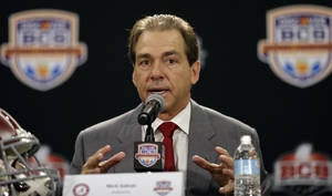 photo - Alabama head coach Nick Saban speaks during a news conference for the BCS National Championship college football game Sunday, Jan. 6, 2013, in Miami. (AP Photo/David J. Phillip)