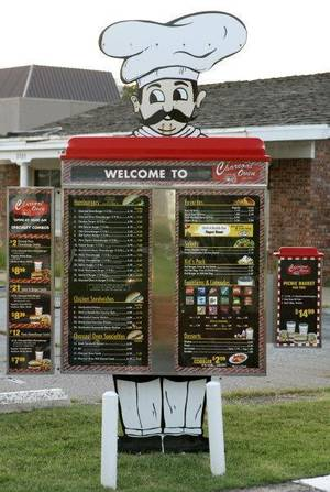 Photo - The drive up menu at the Charcoal Oven in Oklahoma City  <strong>Steve Gooch - The Oklahoman</strong>