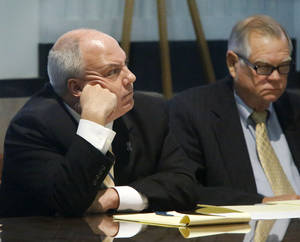 Photo - Former Rep. Randy Terrill and his defense attorney Chris Eulberg listen to testimony Wednesday.  <strong>Jim Beckel - THE OKLAHOMAN</strong>