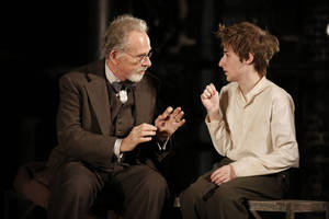"Photo -   This theater image released by The Public Theater shows Ron Rifkin, left, and Noah Robbins in ""The Twenty-Seventh Man,"" running at The Public Theater at Astor place in New York through Dec. 9. (AP Photo/The Public Theater, Joan Marcus)"