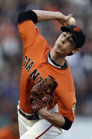 San Francisco Giants' Tim Lincecum works against the Colorado Rockies in the first inning of a baseball game on Friday, May 24, 2013, in San Francisco. (AP Photo/Ben Margot)