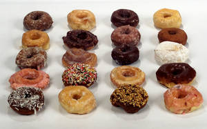 Photo - DOUGHNUT, DOUGHNUTS, DONUT: Tight, angular studio shot of delightful variety of donuts.  Pix is for Features story.  Staff Photo by Roger Klock