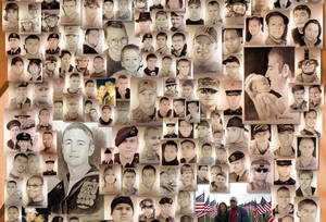 photo -   This image shows a detail of a poster featuring dozens of hand-drawn portraits of men and women killed at war by artist Michael Reagan. Since starting the Fallen Heros Project in 2004, Reagan has drawn more than 3,000 portraits and given them free-of-charge to families of fallen soldiers. (AP Photo/Michael Reagan)