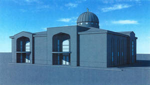 Photo - A architect's drawing of the Islamic Society of Edmond's proposed fellowship activity building to be built next to the mosque. The city council denied a specific use permit. DRAWING PROVIDED. <strong>CITY OF EDMOND - DRAWING PROVIDED</strong>