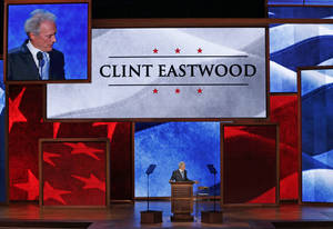 Photo -   Actor Clint Eastwood talks to an empty chair during his address to the Republican National Convention in Tampa, Fla., on Thursday, Aug. 30, 2012. (AP Photo/J. Scott Applewhite)