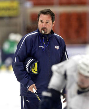 Photo - Head coach Todd Nelson during OKC Barons practice on Wednesday, Jan. 15, 2014.   Photo by Jim Beckel, The Oklahoman