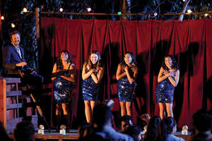 "Photo - This film publicity image released by The Weinstein Company shows, from left, Chris Dowd as Dave, Deborah Mailman as Gail, Shari Sebbens as Kay, Jessica Mauboy as Julie, and Miranda Tapsell as Cynthia in a scene from ""The Sapphires."" (AP Photo/The Weinstein Company, Lisa Tomasetti)"