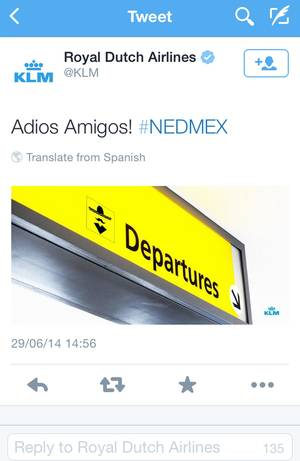 Photo - A screenshot of the KLM twitter account shows a tweet that appeared shortly after the Netherlands defeated Mexico in the World Cup in Brazil on June 29, 2014. What was meant to be a harmless joke has turned into a PR blunder for Dutch airline KLM after it angered Mexican soccer fans by taking to Twitter to celebrate the Netherlands' dramatic comeback victory in the World Cup. Amid the widespread protest online, the post was pulled a half-hour later without an explanation. (AP Photo/KLM twitter account)