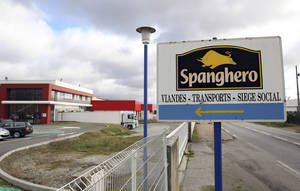 photo - FILE - In this Feb. 11, 2013 file photo, a sign at the entrance of French meat supplier Spanghero in Castelnaudary, southern France. French economy minister Benoit Hamon on Thursday, Feb. 14, 2013 pinned the bulk of the blame on a French wholesaler at the heart of the growing scandal in Europe. (AP Photo/Manuel Blondeau, File)