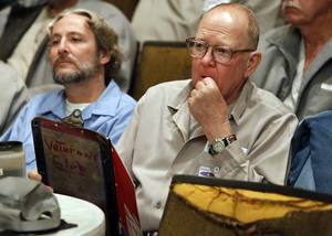 photo - Incarcerated veterans Travis Greer, left, and Eddie McCombs listen to veteran Ronald Pandos, during the inaugural Battle Buddies meeting at James Crabtree Correctional Facility on Wednesday, Dec. 19, 2012 in Helena, Okla.  Photo by Steve Sisney, The Oklahoman