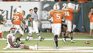 photo - OU's Keenan Clayton, left, reacts after a Miami touchdown in the third quarter at Land Shark Stadium in Miami Gardens, Fla. The Sooner defense came up flat against the Hurricanes. Photo by Bryan Terry, The Oklahoman