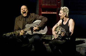 "Photo - This undated theater image released by Seven17 Public Relations shows Vincent D'Onfrio, left, and Ethan Hawke, in a scene from ""Clive"", a production by The New Group performing off-Broadway at Theatre Row in New York. (AP Photo/Seven17 PR, Monique Carboni)"