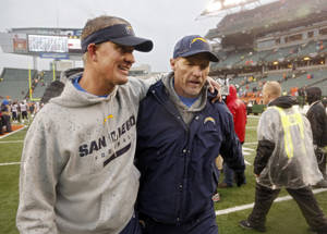 Photo - San Diego Chargers head coach Mike McCoy, left, walks off the field with offensive coordinator Ken Whisenhunt after a 27-10 win over the Cincinnati Bengals in an NFL wild-card playoff football game on Sunday, Jan. 5, 2014, in Cincinnati. (AP Photo/David Kohl)