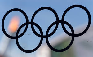 Photo - The flame of the Olympic cauldron is viewed through a glass panel with a sticker of the Olympic rings at a food court in Olympic Park in Sochi, Russia, during the 2014 Winter Olympics, Wednesday, Feb. 12, 2014. (AP Photo/Julio Cortez)