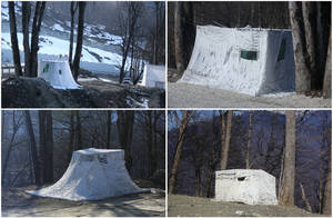 Photo - This combination of photos taken on Sunday, Feb. 16, 2014, shows white security guard tents along the route between the coastal city of Sochi, Russia, and the mountain village of Krasnaya Polyana, where the Alpine and Nordic events for the 2014 Winter Olympics are taking place. The tents would have been well camouflaged in a snowy environment, but the warm weather has left them exposed against the brown background. (AP Photo/Steve Barker)