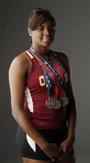 Photo - Audrianna Morgan, Centennial, Little All-City GIrls Track Athlete of the Year, at OPUBCO , Wednesday, June 5, 2013. Photo by Doug Hoke, The Oklahoman