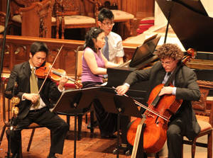 Photo - Brightmusic Chamber Ensemble musicians, from left, Gregory Lee (violin), Amy I-Lin Cheng (piano) and Jonathan Ruck (cello).   Photo provided <strong>Photo provided</strong>