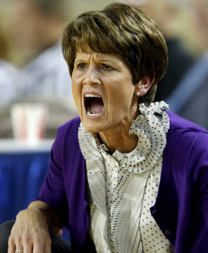 Photo - Okarche coach Cherie Myers shouts during the Class A girls state championship game between Okarche and Cheyenne/Reydon in the State Fair Arena at State Fair Park in Oklahoma City, Saturday, March 2, 2013. Photo by Bryan Terry, The Oklahoman