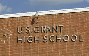 Photo - Sign on front of U.S. Grant High School - Staff photo by Jim Beckel - 2001 file photo