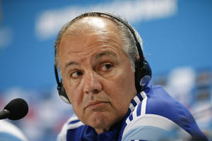 Photo - Argentina's head coach Alejandro Sabella listens to a question during a news conference at Mineirao Stadium in Belo Horizonte, Brazil, Friday, June 20, 2014.  Argentina plays in group F of the 2014 soccer World Cup. (AP Photo/Victor R. Caivano)