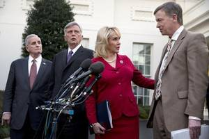 Photo - Oklahoma Gov. Mary Fallin met Tuesday with President Barack Obama at the White House.