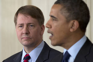 photo - Richard Cordray stands left as President Barack Obama announces in the State Dining Room of the White House in Washington, Thursday, Jan. 24, 2013, that he will re-nominate Cordray to lead the Consumer Financial Protection Bureau, a role that he has held for the last year under a recess appointment, and nominate Mary Joe White to lead the Security and Exchange Commission (SEC).  (AP Photo/Carolyn Kaster)