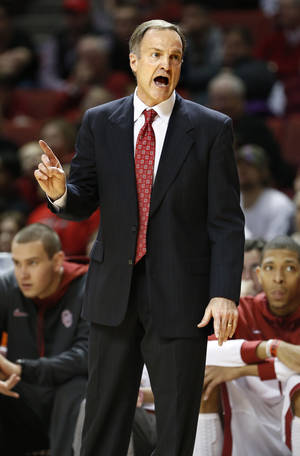 Photo - Oklahoma Sooner head coach Lon Kruger shows his displeasure with a referee call in the second half as the University of Oklahoma Sooners (OU) men defeat the Iowa State Cyclones 86-69 in NCAA, college basketball at The Lloyd Noble Center on Saturday, March 2, 2013  in Norman, Okla. Photo by Steve Sisney, The Oklahoman