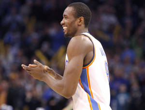 photo - Serge Ibaka has made the Thunder's defense better since entering the starting lineup.  Photo by Sarah Phipps, The Oklahoman