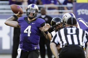 Photo -   TCU quarterback Casey Pachall (4) throws during the first half of an NCAA college football game against Grambling State in Fort Worth, Texas, Saturday, Sept. 8, 2012. (AP Photo/LM Otero)