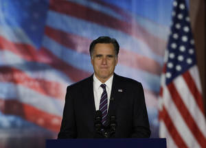 Photo -   Republican presidential candidate and former Massachusetts Gov. Mitt Romney arrives to his election night rally, Wednesday, Nov. 7, 2012, in Boston. President Obama defeated Republican challenger former Massachusetts Gov. Mitt Romney. (AP Photo/David Goldman)