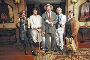 Photo - Chautauqua actors are (left to right) Debra Conner as Zelda Fitzgerald, Gene Worthington as Babe Ruth, Doug Watson as Will Rogers, Doug Mishler at Henry Ford and Ilene Evants as Bessie Coleman.