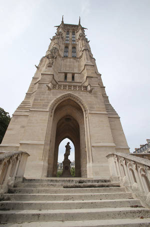 Photo - The Tour Saint-Jacques is seen in Paris, Thursday, Aug. 22, 2013. The Tour Saint-Jacques, a gothic bell tower in central Paris, opened to the public last month for the first time since it was built in the early 16th century. (AP Photo/Michel Euler)