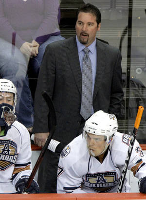 photo - OKLAHOMA CITY BARONS / AHL HOCKEY: Oklahoma City Barons coach Todd Nelson during a hockey game at the Cox Convention Center in Oklahoma City, Friday, April 6, 2012. Photo by Bryan Terry, The Oklahoman ORG XMIT: KOD