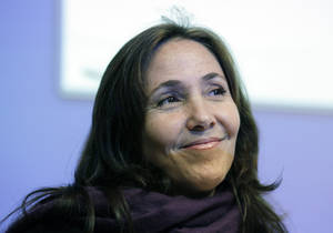 Photo -   Mariela Castro, daughter of Cuban President Raul Castro, smiles before speaking to an academic conference at San Francisco General Hospital in San Francisco, Wednesday, May 23, 2012. Castro, an outspoken gay rights advocate, spoke at a medical lecture for health care providers on care for transgender patients. (AP Photo/Eric Risberg)