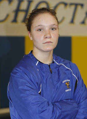 Photo - GIRL / FEMALE / HIGH SCHOOL WRESTLER / WRESTLING: Choctaw wrestler Becka Leathers prepares to work out at Choctaw High School in Choctaw, OK, Tuesday, January 29, 2013,  By Paul Hellstern, The Oklahoman