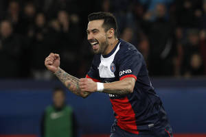 Photo - Paris Saint Germain's forward Ezequiel Lavezzi from Argentina celebrates scoring during the French League one soccer match against Sochaux at the Parc des Princes stadium, in Paris, Saturday, Dec. 7, 2013. (AP Photo/Thibault Camus)