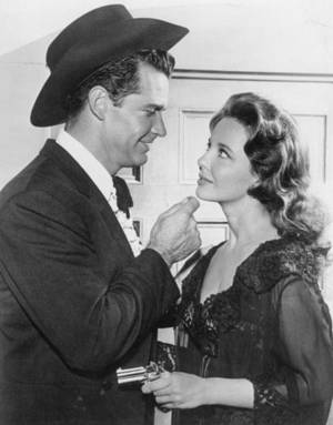 James Garner as Bret Maverick and actress Suzanne Storrs are shown in a scene from the television program 'Maverick.' This episode is 'Guatemala City,' which aired in 1960.