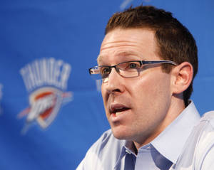 Photo - Sam Presti has agreed to a multi-year extension with the Oklahoma City Thunder. Photo by Paul Hellstern, The Oklahoman