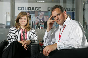 "Photo - Jessica Hynes and Hugh Bonneville star in ""Twenty Twelve,"" which debuts at 8 p.m. Thursday on BBC America. BBC America photo"