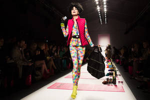 Photo - The Betsey Johnson Fall 2013 collection is modeled during Fashion Week in New York, Monday, Feb. 11, 2013. (AP Photo/John Minchillo)