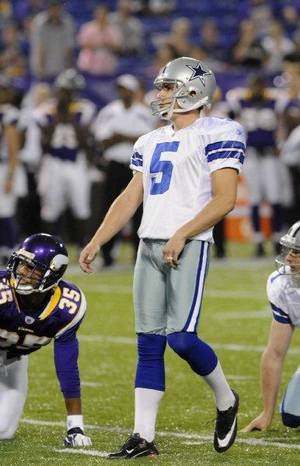 Photo - Dallas Cowboys place kicker Dan Bailey watches his field goal during the second half of an NFL preseason football game against the Minnesota Vikings Saturday, Aug. 27, 2011, in Minneapolis. Dallas won 23-17. (AP Photo/Jim Mone) <strong>Jim Mone</strong>