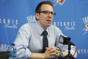 Photo - Thunder general manager Sam Presti speaks during a press conference on Friday. PHOTO BY DAVID MCDANIEL, THE OKLAHOMAN